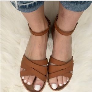 Shoes - Ankle Strap Woven Sandal